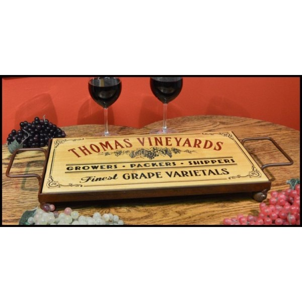 'Grape' Personalized Serving Board w/ Wrought Iron Base