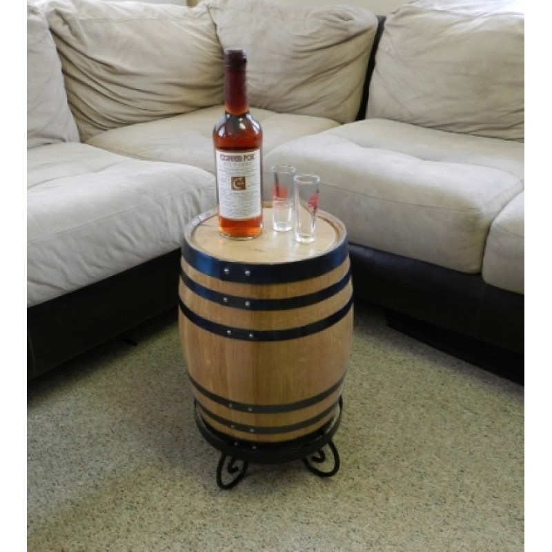 oak barrel end table