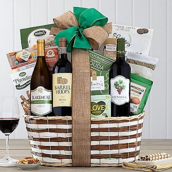 CALIFORNIA RED & WHITE WINE TRIO WINE GIFT BASKET