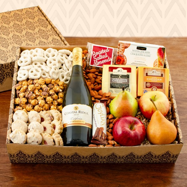 Chardonnay Wine, Fruit and Cheese Gift Basket