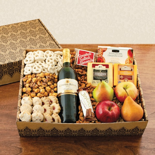 Merlot Wine, Fruit and Cheese Gift Basket
