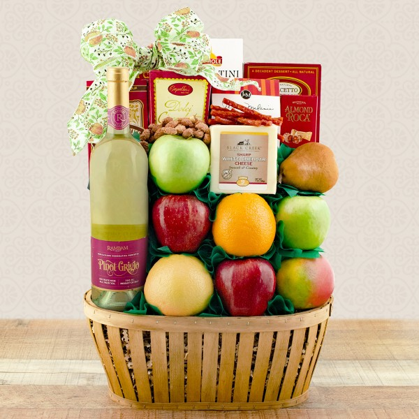 Pinot Grigio Wine Fruit and Cheese Gift Basket