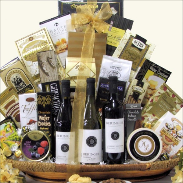 BERINGER FOUNDERS ESTATES CELLAR WINE TRIO: WINE GIFT BASKET