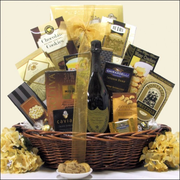 MAJESTIC ELEGANCE: GOURMET DOM PERIGNON CHAMPAGNE GIFT BASKET