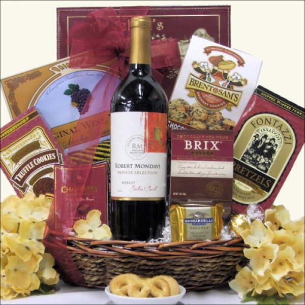MONDAVI PRIVATE SELECTION MERLOT: CHOCOLATE & WINE GIFT BASKET
