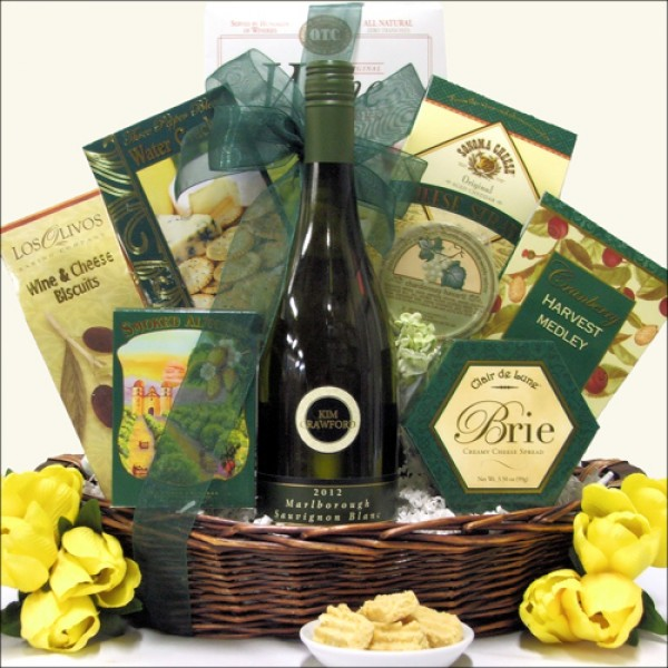 SAVORY EXPRESSIONS: GOURMET WINE & CHEESE GIFT BASKET: SELECT YOUR WINE