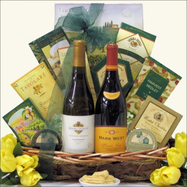 SAVORY SELECTIONS: GOURMET WINE & CHEESE GIFT BASKET: SELECT TWO WINES