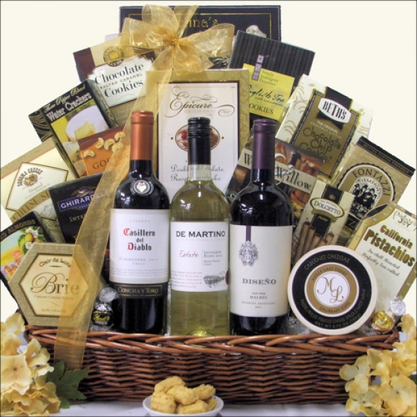 SOUTH AMERICAN CLASSIC TRIO: WINE GIFT BASKET