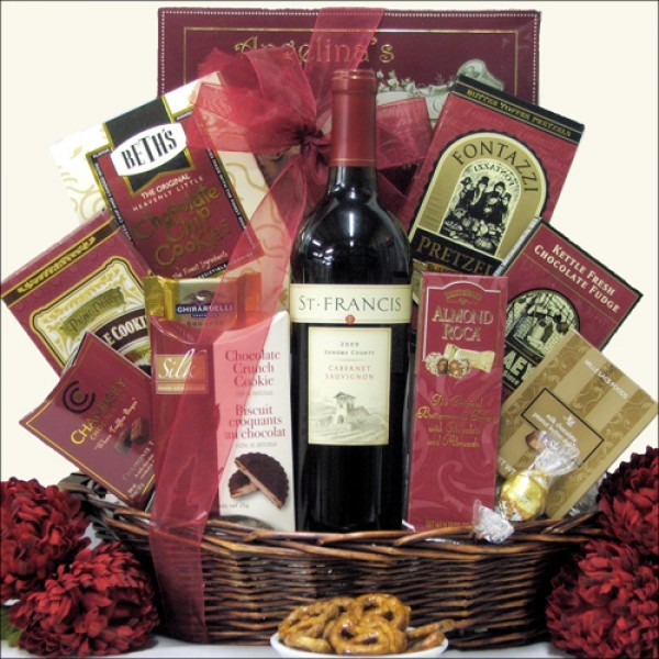 SWEET EXPRESSIONS: GOURMET WINE & CHOCOLATE GIFT BASKET: SELECT YOUR WINE