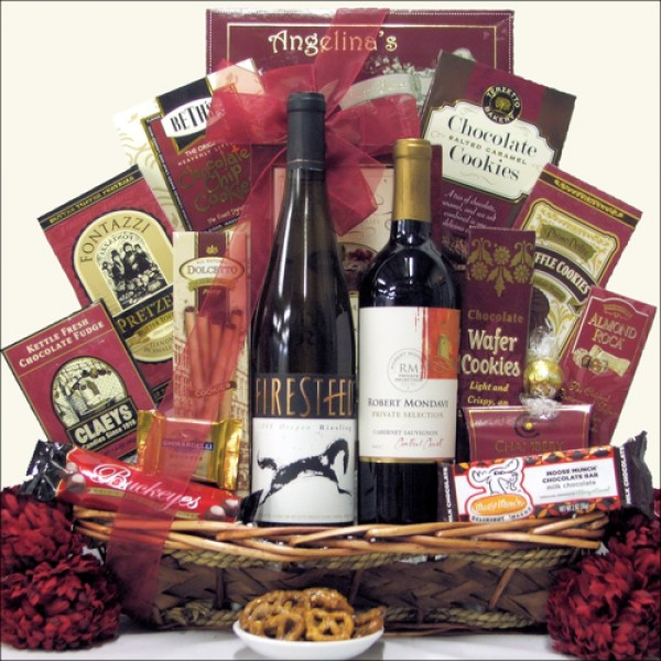 SWEET SELECTIONS: GOURMET WINE & CHOCOLATE GIFT BASKET: SELECT TWO WINES