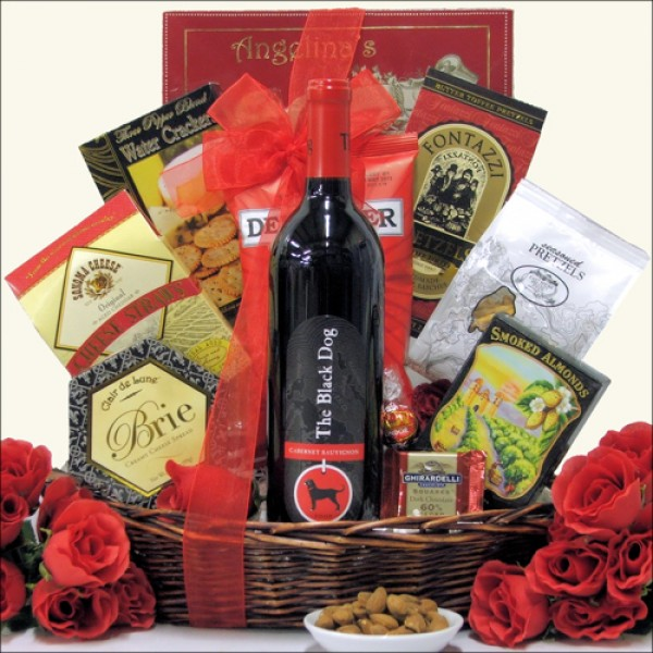 THE BLACK DOG CABERNET SAUVIGNON: GOURMET WINE GIFT BASKET