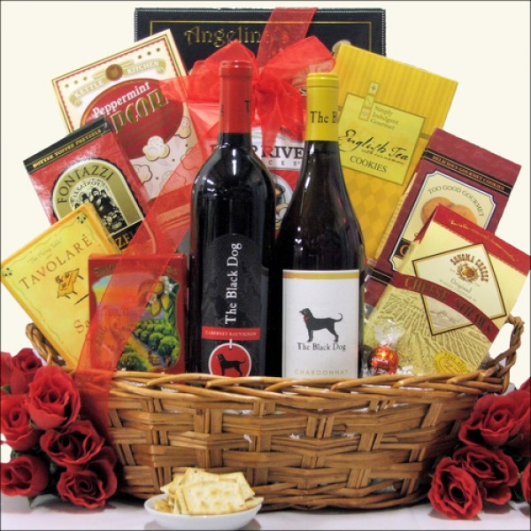 TWO BLACK DOGS: WINE GIFT BASKET