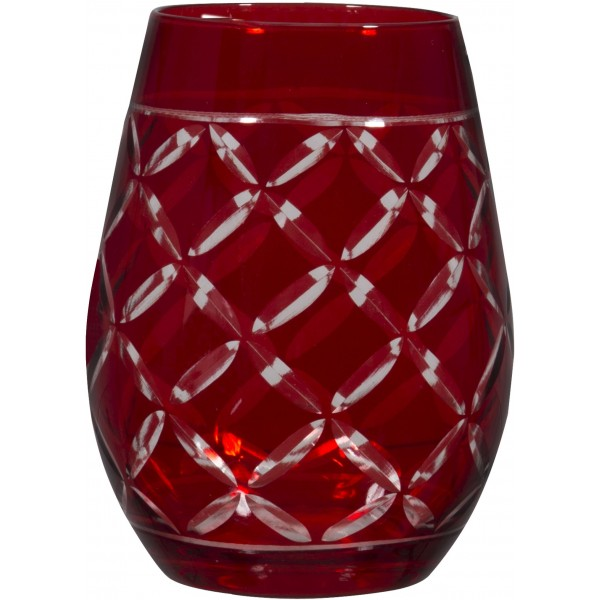 Cellini 12 Oz Red Stemless Wine Glass | Set of 6