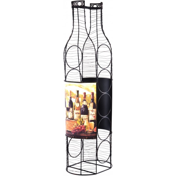 "28""Bottle Shaped Wine Rack W/Wine Bottle Decal"
