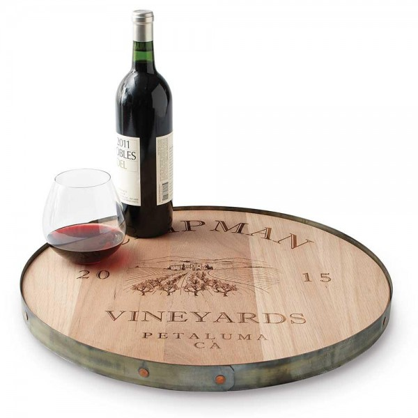 "Personalized 18"" Wine Barrel Lazy Susan, #16583"