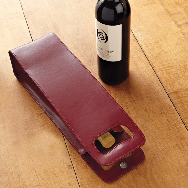 One Bottle Red Leather Wine Tote