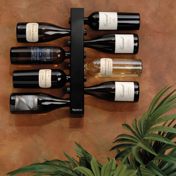 Vynebar 8-Bottle Black Vertical Wine Rack