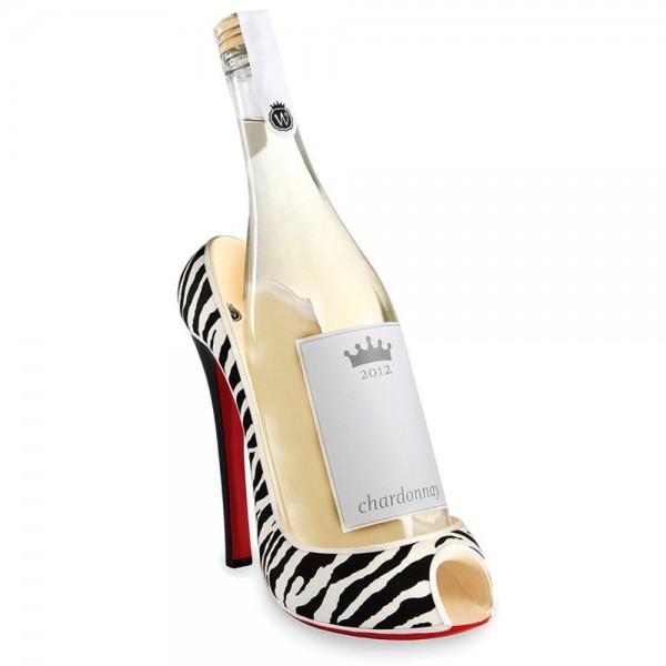 Zebra Stiletto Wine Bottle Holder
