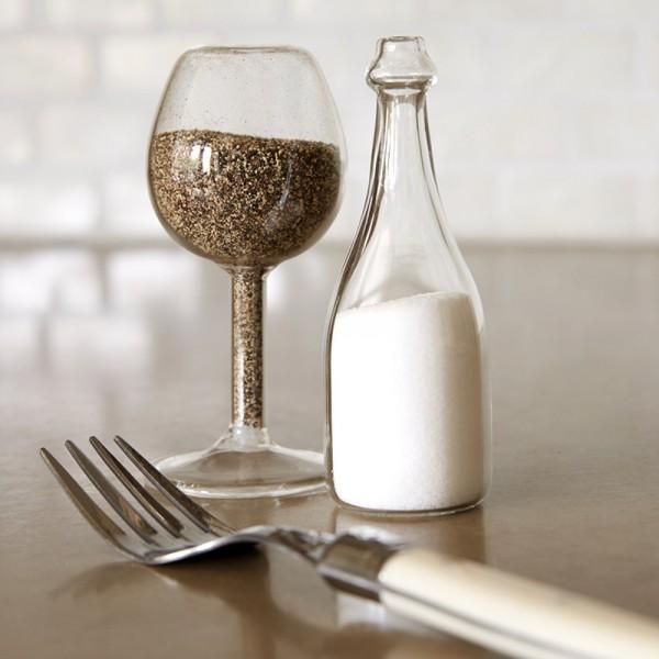 Wine Glass and Bottle Salt Pepper Shakers