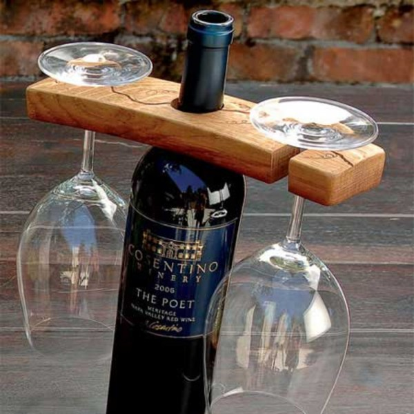 Hand-Carved Barrel Stave Glass Bottle Holder