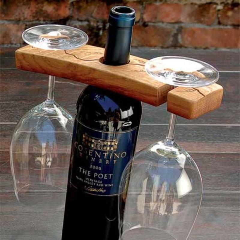 Hand Carved Barrel Stave Glass Bottle Holder