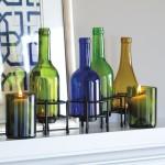 Recycled Wine Bottle Tea Lights Set of 4