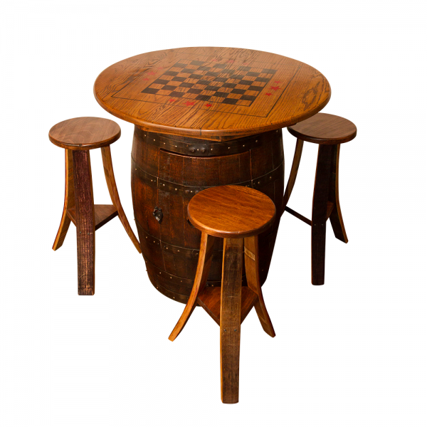 Whiskey Barrel Game Table Set