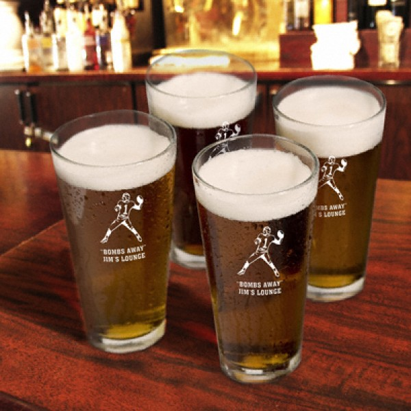 Personalized Set of 4 Sports Icon Pint Glasses
