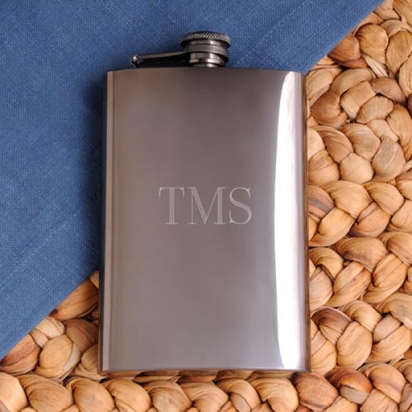 Personalized Rich Gunmetal Flask