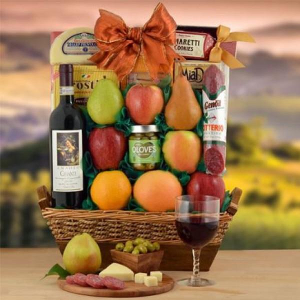 Italian Chianti Wine and Fruit Gift Basket
