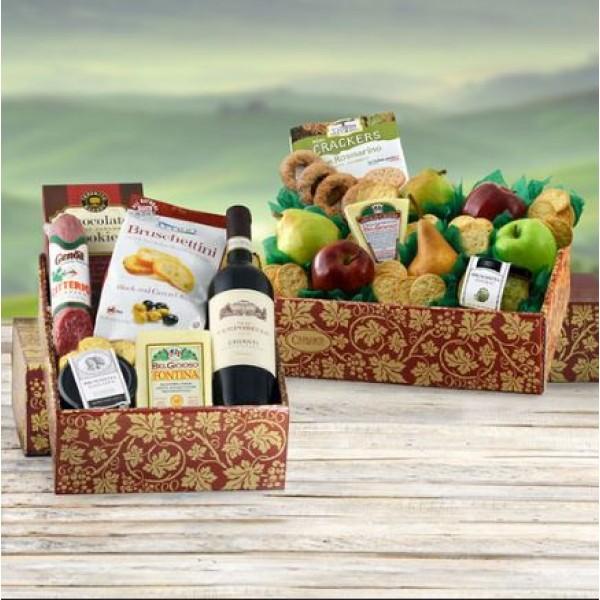 Italian Wine, Cheese, Fruit Gift Basket